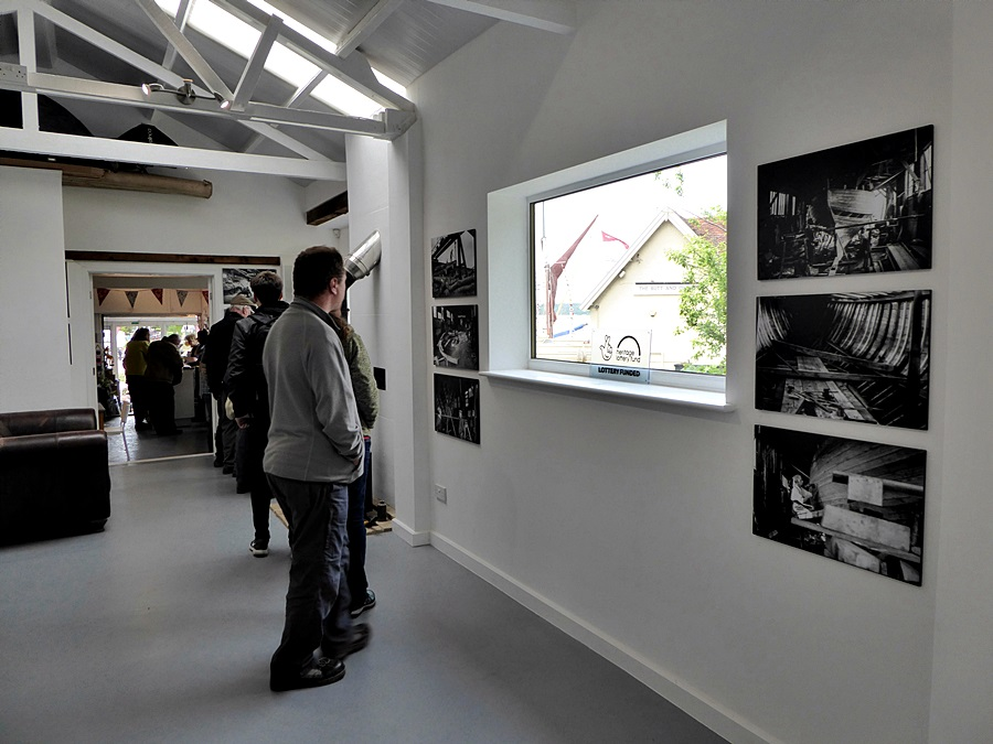 Visitors to the Selina King Exhibition during the 2017 Arthur Ransome Pin Mill Jamboree. Photo: Peter Willis.