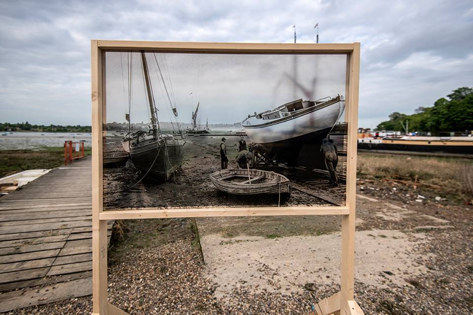 A framed transparency of an Arthur Ransome photo on location at Pin Mill. Photo: Anthony Cullen.